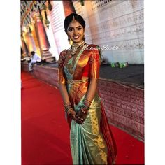 South Indian Bride Saree, Cutwork Blouse Designs, Saree Collection, Jewelry Collection, Beautiful Saree, Bridal Looks, Indian Outfits, Silk Sarees, Lehenga