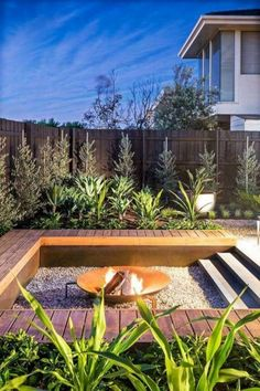 Deck Fire Pit, Fire Pit Backyard, Fire Pit Seating, Fire Pits, Seating Areas, Small Garden Fire Pit, Small Garden Landscape, Small Fire Pit, Desert Landscape