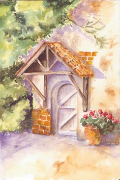 """""""Come In""""   Watercolor by Christine Lent"""