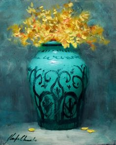 Decorative Teal Vase, painting by artist Justin Clements