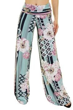 High Waist Fold Over Wide Leg Palazzo Pants (Mint Geo Floral) Wide Leg Palazzo Pants, Printed Palazzo Pants, Harem Pants, Pajama Pants, Lounge Pants, Lounge Wear, Legs, Womens Fashion, Casual