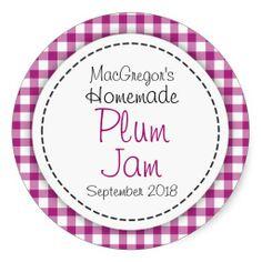Round plum preserve or jam jar food label stickers. Designed by www.sarahtrett.com