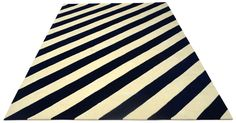 """A Custom hand tufted pure wool rug in navy blue and ivory white. It has a pile depth of 15-18mm. Created using the """"Slanted"""" design. #CustomRugRoom"""