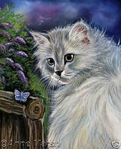 PERSIAN CAT BLUE BUTTERFLY PRINT PAINTING ANNE MARSH | eBay