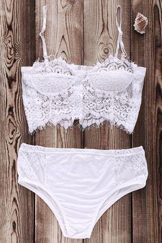 White Lace Splicing Cami Bikini Set WHITE: Bikinis | ZAFUL