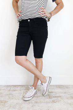 Black Denim Bermuda Shorts | ROOLEE