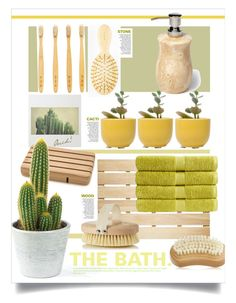 """Cactus in the Bath."" by s-elle ❤ liked on Polyvore featuring interior, interiors, interior design, home, home decor, interior decorating, Men's Society, AERIN, Dot & Bo and Owen & Fred"