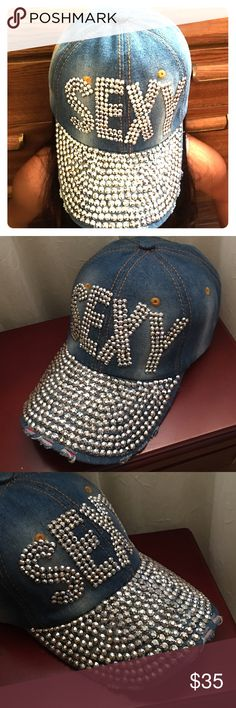 NEW Rhinestones Denim Baseball Cap NEW Rhinestones Baseball caps with adjustable size. Accessories Hats