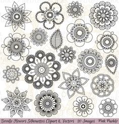 Doodle Flowers Silhouettes Clipart and Vectors