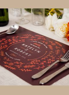 Customize your own placemats for your wedding events. It adds a little extra touch to your special day