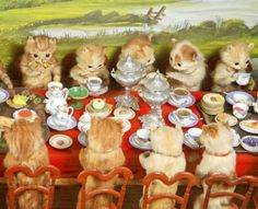 These cute kittens are having a tea party.