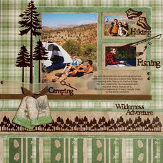 .scrapbooking layouts, scrapbook ideas. Maybe write the title at bottom in tall letters
