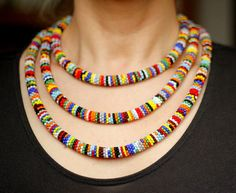 African Necklace, Bead Crochet Necklace, 78 Inches Long African Inspired Beaded…