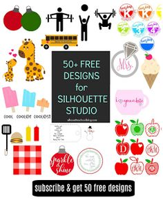 http://www.silhouetteschoolblog.com/p/50-free-designs-when-you-sign-up-for.html