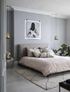 Millennial pink linen bed spread with textured cushions scattered, complemented by neutral, soft grey walls and art print. Step inside the South West London Home of Sommer Pyne to see more interior inspiration. Light Gray Bedroom, Gray Bedroom Walls, Bedroom Colors, Home Decor Bedroom, Bedroom Ideas, Pink Gray Bedroom, Condo Bedroom, Blush Grey Copper Bedroom, Bedroom Wall Lights