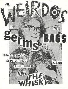 Weirdos, Germs, Bags, flyer for a show at The Whisky, artwork by Cliff Roman and Dave Trout, 1977