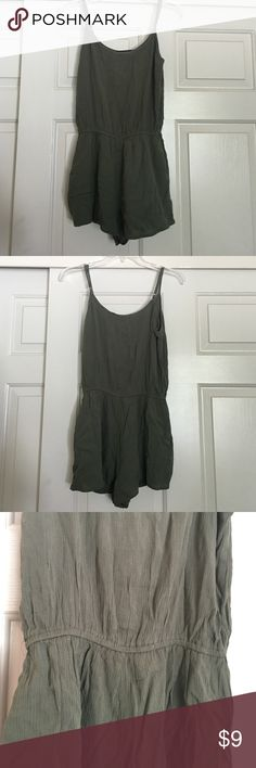 Selling this Forever21 Crinkled olive woven romper in my Poshmark closet! My username is: jahanatebar. #shopmycloset #poshmark #fashion #shopping #style #forsale #Forever 21 #Other