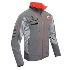 Brand new and presented in official Vodafone McLaren Mercedes packaging Part of the official Vodafone McLaren Mercedes team collection is this steel grey softshell jacket. It will keep you warm on the colder days at the track and features contrasting Rocket Red interior at the collar and piping at the front and embroidered team and sponsor logos on the front, sleeves and back. Mclaren Mercedes, Team Wear, Men Stuff, Red Interiors, Racing Team, Softshell, Cold Day, Dress Collection, Motorcycle Jacket
