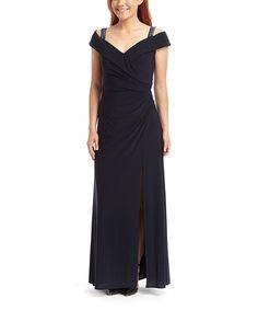 Look at this #zulilyfind! Navy Portrait-Collar Jersey Off-Shoulder Gown #zulilyfinds