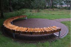Bench with recycled wood by Dutch designer Piet Hein.