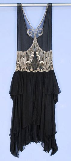1920's Art Deco Beaded Chiffon dress - Charles A. Whitaker Auction Company