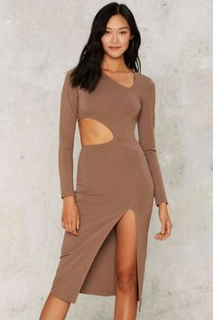 Nasty Gal Side to Side Cutout Dress - Beige - Clothes | Midi Dresses | Bodycon Dresses | Dresses