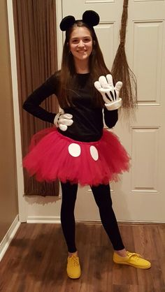 diy minnie mouse costume yep no sew projects to try pinterest kost m fasching und. Black Bedroom Furniture Sets. Home Design Ideas