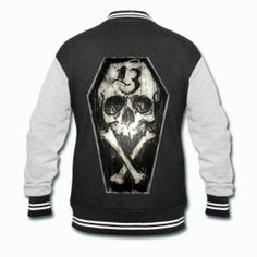 03ef294a28d Lucky Thirteen Skull and Bones Varsity Jacket
