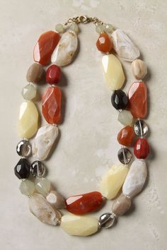 Chunky beaded necklace in earth tones.