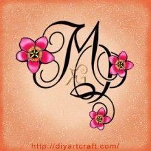 4 monogrammi nuovi con fiori e farfalle: lettere stilizzate MQ tattoo | tattoo diyartcraft