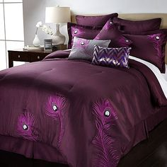 Purple 'Peacock' bedding set