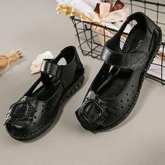 Retro Genuine Original Flat Leather Sandals Toe SOCOFY Handmade Peep tXZqzf