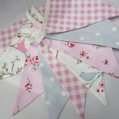 Fabric Bunting Shabby Chic Style Bird Trail, Pink Rosebud, Gingham Check, 9  double sided  Flags. $17.00, via Etsy.