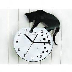 travesso gato relógio de parede de acrílico com diy de discagem e funcionalidade mãos