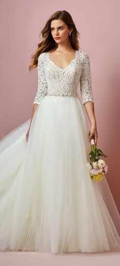 Rebecca Ingram - SCARLETT, What's the perfect amount of sexy for a bridal look? You may find it in this modest princess wedding dress with a keyhole back. Affordable Wedding Dresses, Designer Wedding Dresses, Bridal Dresses, Affordable Bridal, Designer Gowns, Dresses Dresses, Dresses For Sale, Long Sleeve Wedding, Wedding Dress Sleeves