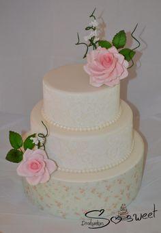 Sugar rose, sugar lace and sugar sheet Sugar Sheets, Sugar Lace, Country Weddings, First Birthdays, Romance, Rustic, Cakes, Rose, Desserts