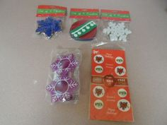 CHRISTMAS ITEMS MIXED LOT . 5 PC, NOVELTY COASTERS & SEALS. NEW IN PACKAGE
