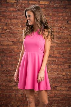 Sitting Pretty Dress, Hot Pink || You will be sitting way more than just pretty in this hot pink dress! The color is bright and beautiful and that fit is smoking! We love the unique straps on this beauty too! They even make where you don't even have to have a necklace! Hot Pink Dresses, Pretty Dresses, Dress To Impress, How To Make, How To Wear, Topshop, Spring 2016, Unique, Smoking