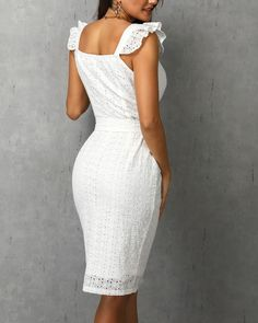 Women White Dress Lace Up Sexy Midi Vestidos Ruffles Sleeveless Bodycon Female Dresses Buttons Belt Elegant Ladies Clothes White Dress Summer, Summer Dress Outfits, White Dresses For Women, Sexy Dresses, White Women, Trend Fashion, Looks Style, Elegant Woman, Ladies Dress Design