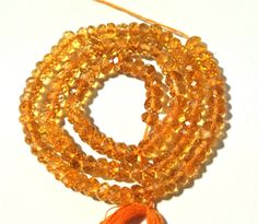 14 Inches Natural Citrine Micro Faceted by GemsAndBeadsEmporium