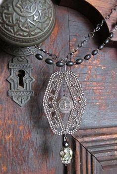 old lock door knob necklace