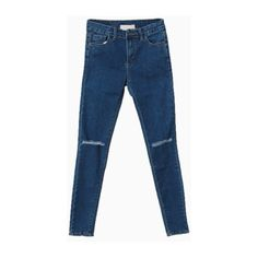 Dark Blue Skinny Jeans With Knees Cut Out (5555 RSD) ❤ liked on Polyvore featuring jeans, pants, bottoms, choies, skinny fit jeans, cut-out jeans, cutout jeans, denim skinny jeans and skinny leg jeans