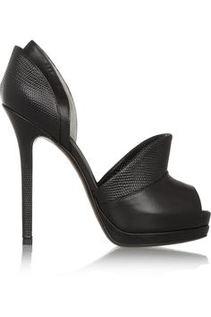 Fendi|Textured-leather and leather pumps|NET-A-PORTER.COM