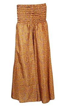 Women's Flare Skirt Brown Vintage Silk Sari Smocked Waist... https://www.amazon.com/dp/B01IY4LSDQ/ref=cm_sw_r_pi_dp_-xwMxbF3SSVK0