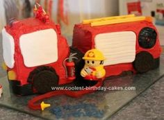 Homemade Fire Engine Birthday Cake: My little boy is Fireman Sam obsessed so I wanted to make him a fire engine birthday cake. Saw one in a Woman's Weekly (Australian Publication) cake