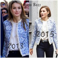 Doña Letizia has worn the Mango azure ethnic fabric jacket on several occasions.