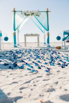 Summer rustic beach wedding arch, decoration, blue and turquoise colors, blue bom orchid aisle, destination wedding reception ceremony ideas on a budget wedding aisle Beach Wedding Reception, Beach Ceremony, Wedding Ceremony, Reception Ideas, Wedding Sparklers, Wedding Gowns, Beach Wedding Signs, Ceremony Signs, Wedding Arches