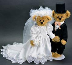 Dearly Beloved OOAK Bride and Groom Bear - Sold - created by Vicky Lougher - www.vickylougher.com #artistbear #artistbears #teddybear #handmade #weddings