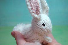 Bunny . Rabbit .  Easter . Spring . Knit . Natural . Waldorf . Woodland . Toy . Decoration . Basket. $28.00, via Etsy.