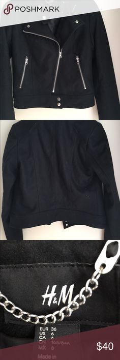 H&M Black Coat! This coat has snap buttons at the bottom and top as well as a zipper. It is a Very clean coat and Super cute! H&M Jackets & Coats Utility Jackets